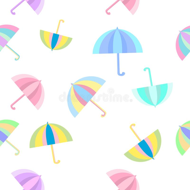 Fondo plano colorido inconsútil del modelo de los paraguas del arco iris aislado libre illustration