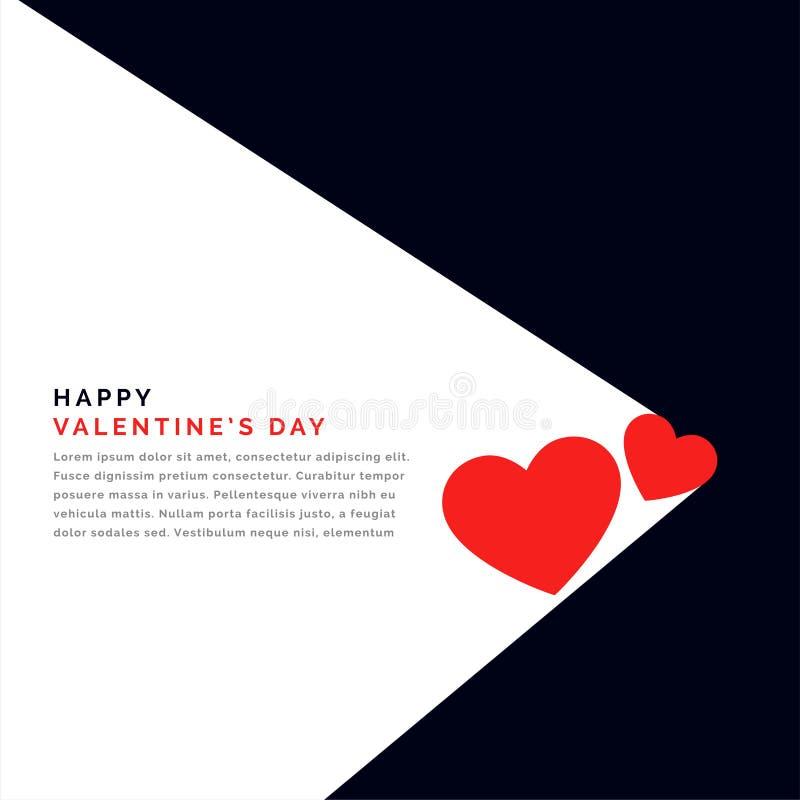 Fondo plano con dos corazones y espacio del texto para día de San Valentín ilustración del vector