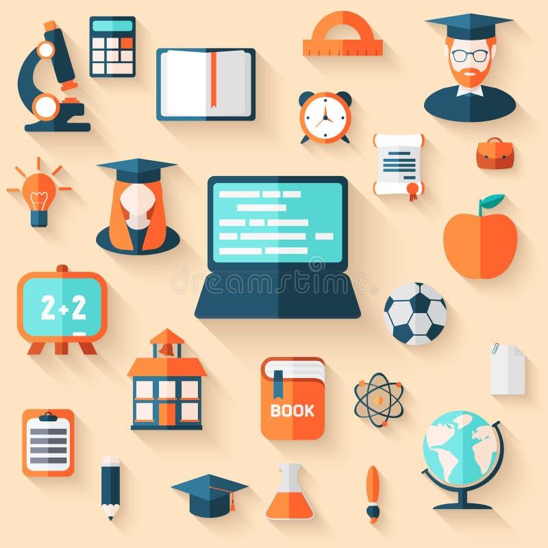 Fondo plano de Infographic de la educación ilustración del vector