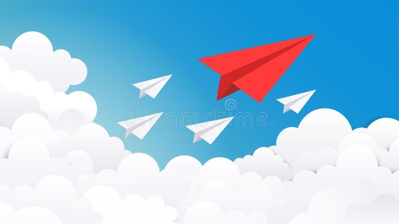 Fondo plano de papel Idea creativa del concepto, éxito empresarial y ejemplo mínimo de la visión del líder Avión del vector encen libre illustration