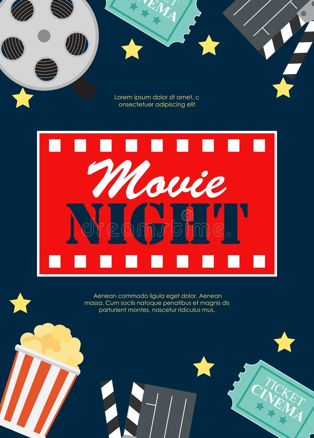 Fondo plano de película del cine abstracto de la noche con el carrete, el boleto del viejo estilo, la palomitas de maíz grande e  stock de ilustración