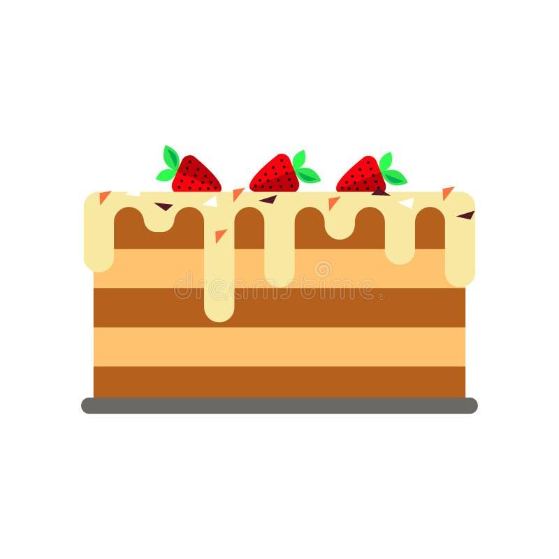 Fondo plano del blanco del logotipo del icono de la torta Celebre el feliz cumpleaños Postre dulce, comiendo la galleta deliciosa stock de ilustración