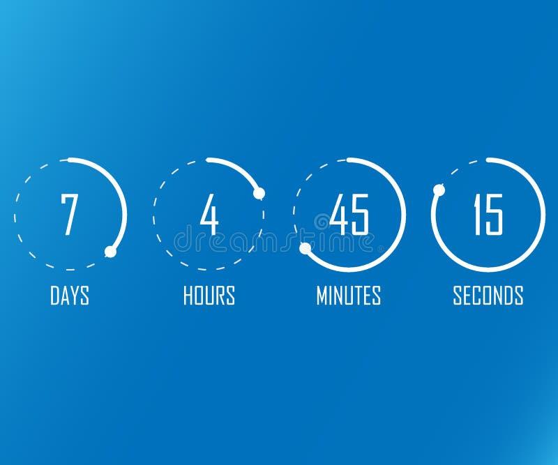 Fondo plano del contador de tiempo del reloj digital de la plantilla del vector del sitio web de la cuenta descendiente para veni stock de ilustración