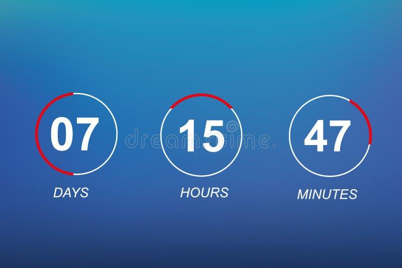 Fondo plano del contador de tiempo del reloj digital de la plantilla del vector del sitio web de la cuenta descendiente para veni libre illustration
