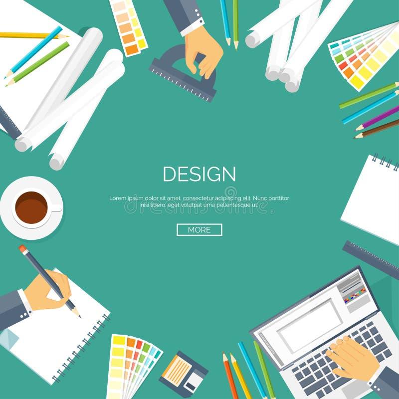 Fondo plano del ejemplo del vector Dibujo del diseño web, pintura Planeamiento de proyecto papeleo ilustración del vector
