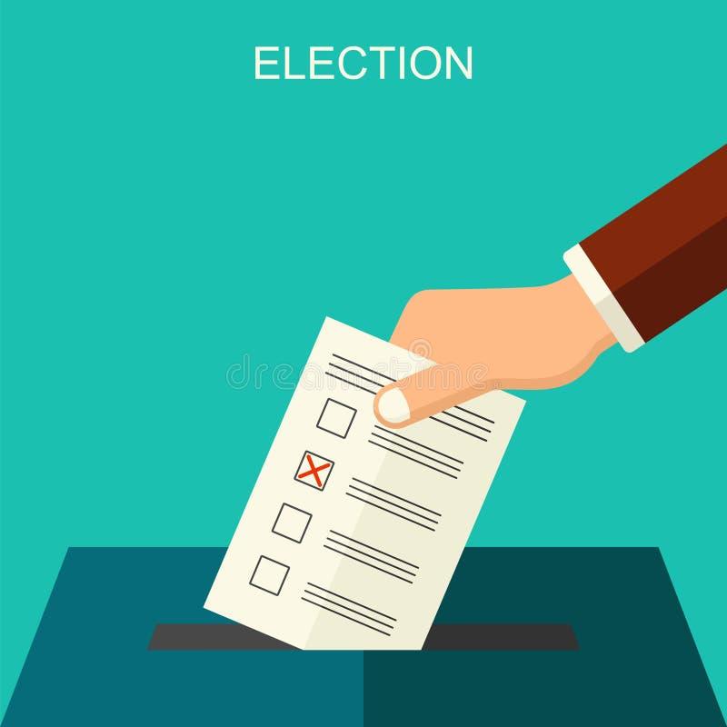 Fondo plano del estilo del vector del concepto de las elecciones y de la votación Ejemplo para el aviador, los prospectos y los s libre illustration