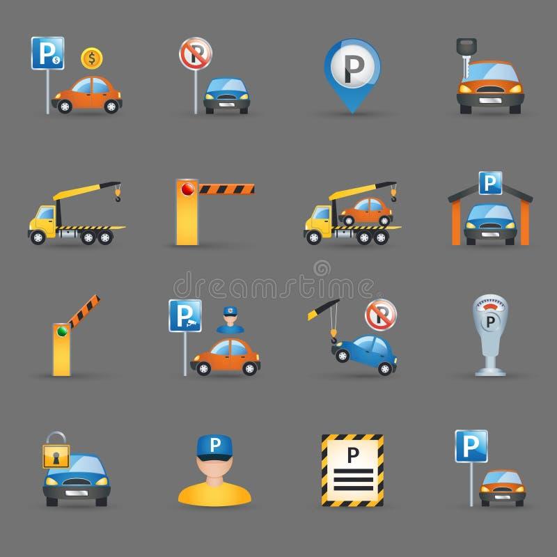 Fondo plano del grafito de los iconos de las instalaciones de estacionamiento stock de ilustración
