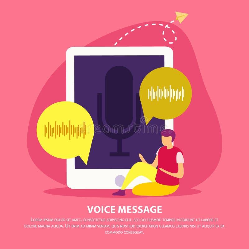 Fondo plano del mensaje de la voz ilustración del vector