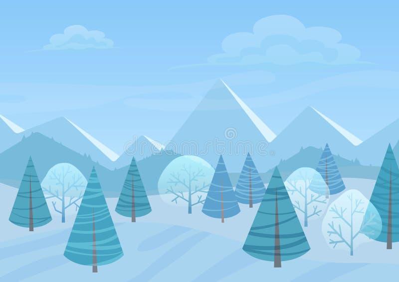 Fondo plano del paisaje del invierno hermoso de Chrismas Bosque del bosque de la Navidad con las montañas Vector del invierno del stock de ilustración