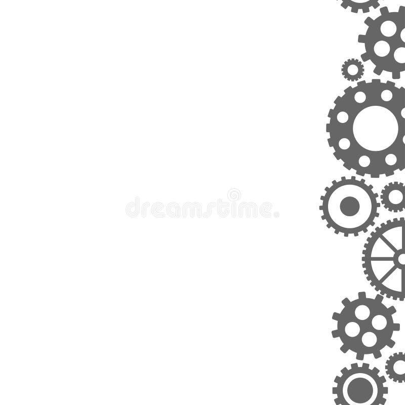 Fondo plano del vector con los engranajes negros en el lado derecho Tecnolog?a de la innovaci?n libre illustration