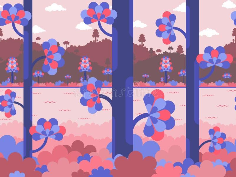 Fondo plano del vector en los colores violetas y rosados con el bosque, el río y las colinas stock de ilustración