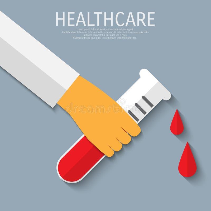 Fondo plano médico de la atención sanitaria del vector ilustración del vector