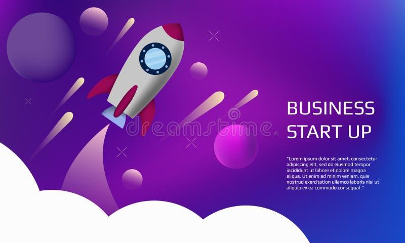 Fondo plano moderno con el cohete stock de ilustración