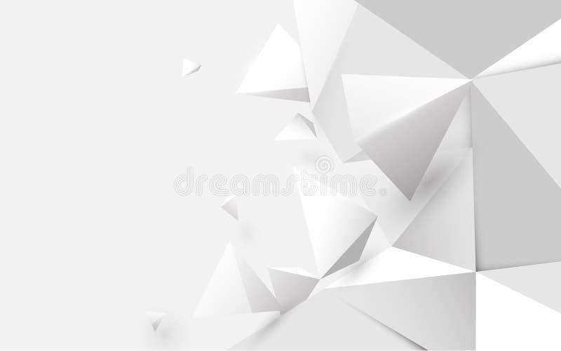 Fondo polígono inferior 3d de color blanco abstracto Ilustración del vector libre illustration