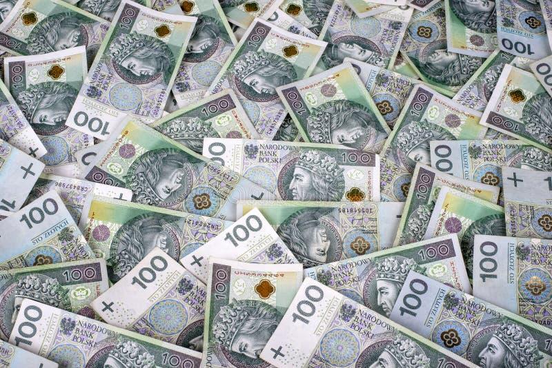 Fondo polaco de 100 billetes de banco del zl fotografía de archivo
