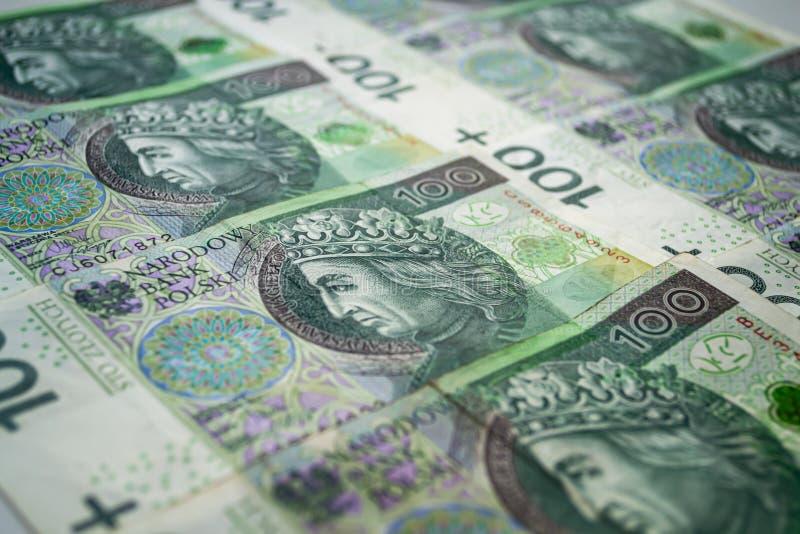 Fondo polaco de los billetes de banco del zloty Cientos billetes de banco del zloty fotos de archivo