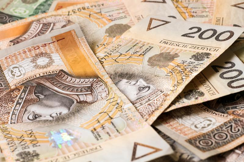 Fondo polaco del dinero fotos de archivo