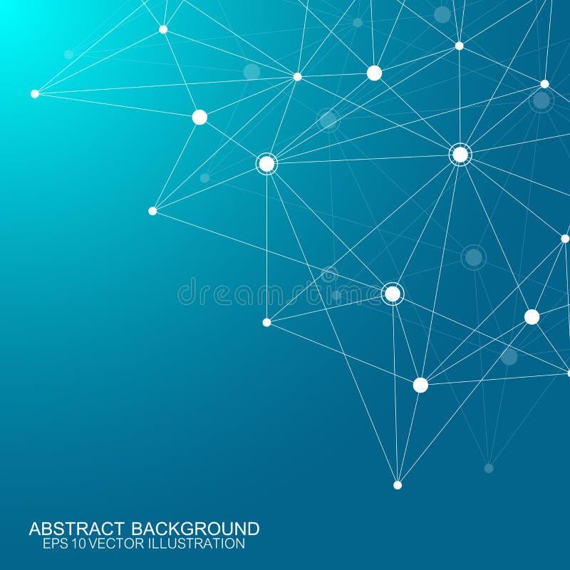 Fondo poligonal abstracto con las líneas y los puntos conectados Modelo geométrico de Minimalistic Estructura de la molécula y stock de ilustración