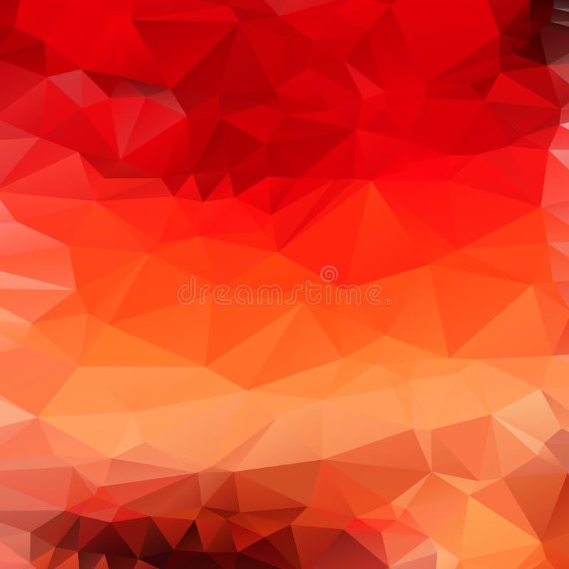 Fondo poligonal abstracto rojo anaranjado claro ilustración del vector