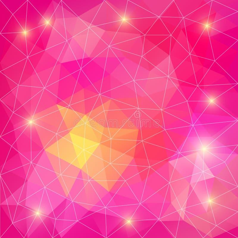 Fondo poligonal abstracto rosado. Puede ser utilizado para el papel pintado, p stock de ilustración