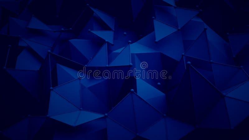 Fondo poligonal azul marino de la representación de la superficie 3D ilustración del vector