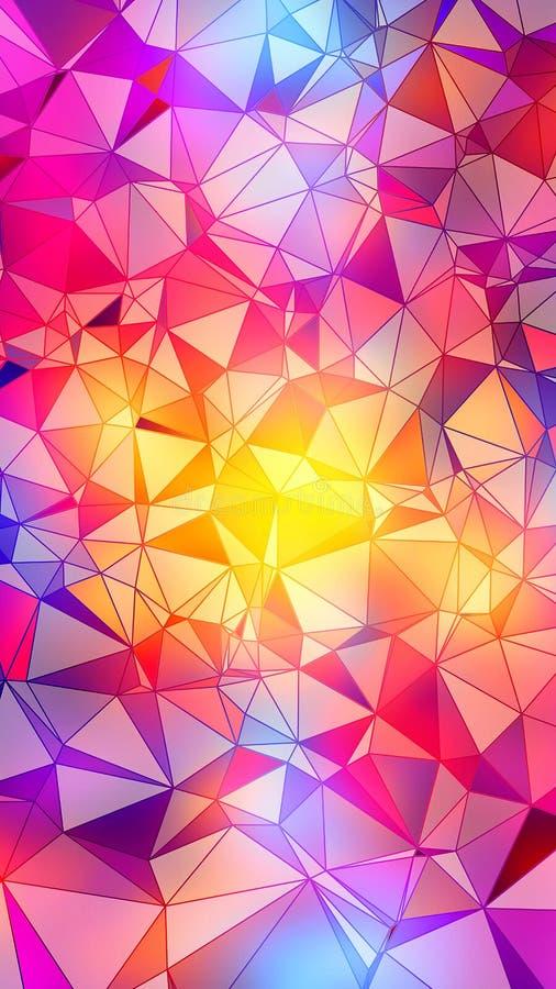 Fondo poligonal colorido abstracto - resolución 8K stock de ilustración