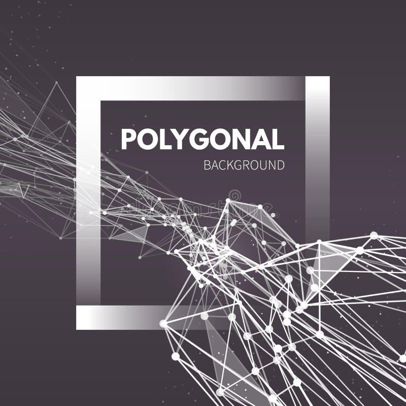 Fondo poligonal de la malla de Wireframe Onda con ilustración del vector