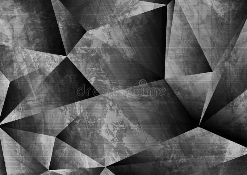 Fondo poligonal gris del extracto de la tecnología del grunge 3d ilustración del vector