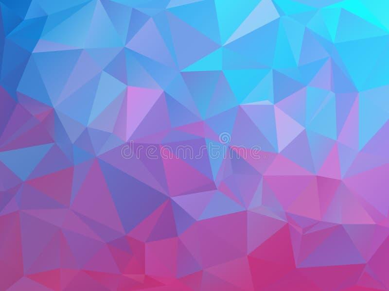 Fondo poligonal natural abstracto Colores brillantes lisos de azules turquesa a la púrpura stock de ilustración