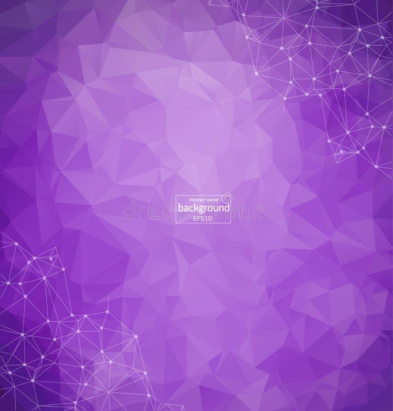 Fondo poligonal púrpura abstracto del espacio con los puntos y las líneas de conexión Estructura de la conexión Fondo de la cienc libre illustration