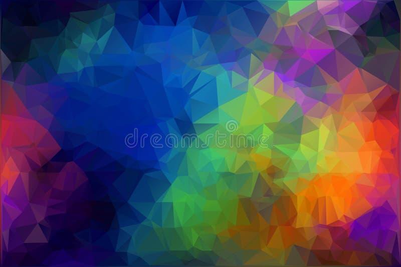 Fondo poligonale di spettro Modello piano dell'arcobaleno di Holi Illustrazione di vettore per la carta da parati illustrazione di stock