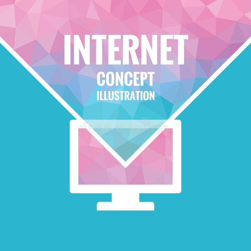 Fondo poligonale di vettore - illustrazione di concetto di Internet con il simbolo del monitor Fondo rosa, viola e del blu di col illustrazione di stock