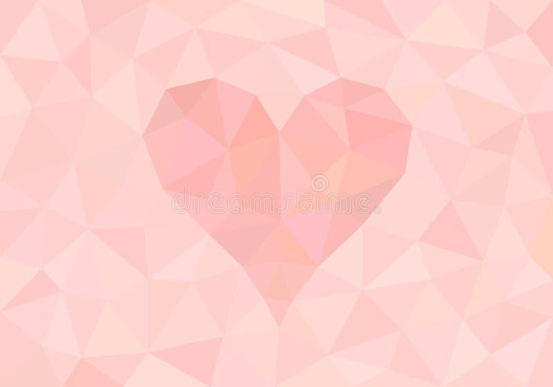Fondo poligonale rosa-chiaro dell'estratto con forma del cuore illustrazione di stock
