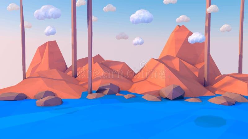 Fondo polivinílico bajo del vector del paisaje de las montañas Las formas poligonales enarbolan con nieve en el top y los árboles imagen de archivo libre de regalías