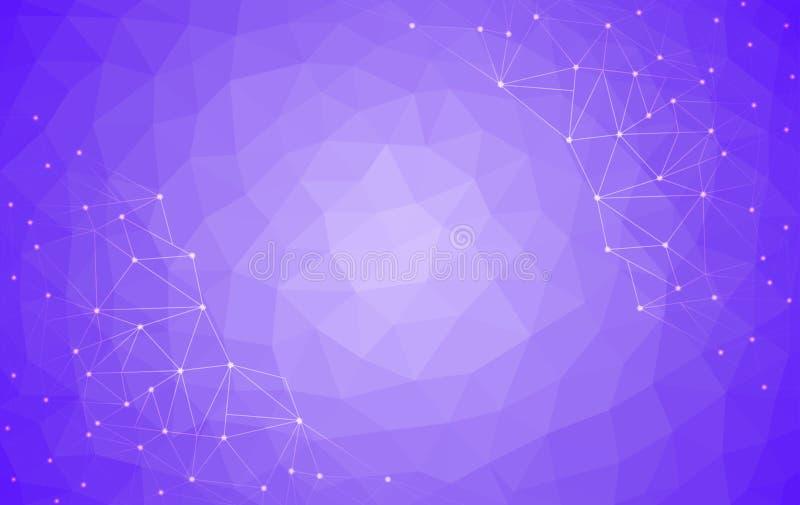 Fondo polivinílico bajo purpúreo claro, ejemplo abstracto del vector del diseño del polígono, modelo triangular geométrico stock de ilustración