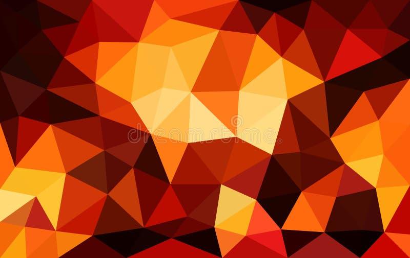 Fondo polivinílico bajo rojo multicolor, textura cristalina abstracta stock de ilustración