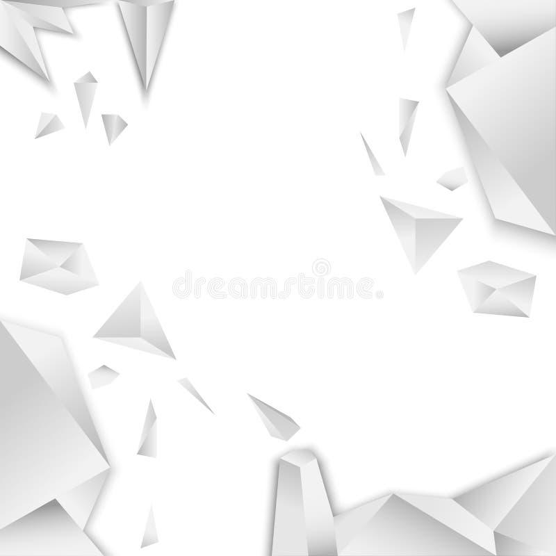 Fondo polygonan del arte de la pendiente blanca y gris del vector cristalino del modelo ilustración del vector
