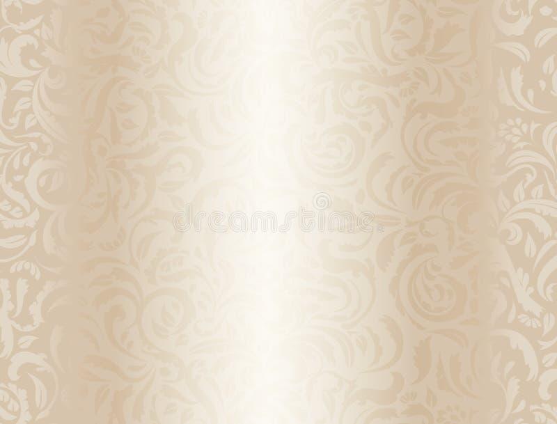 Fondo poner crema de lujo con el estampado de flores ilustración del vector