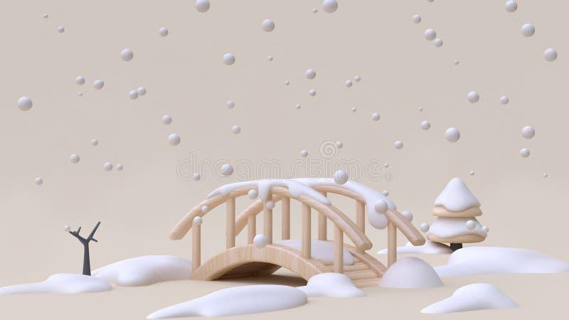 Fondo poner crema mínimo 3d de la naturaleza de la nieve del invierno del Año Nuevo del concepto del puente del estilo de madera  ilustración del vector