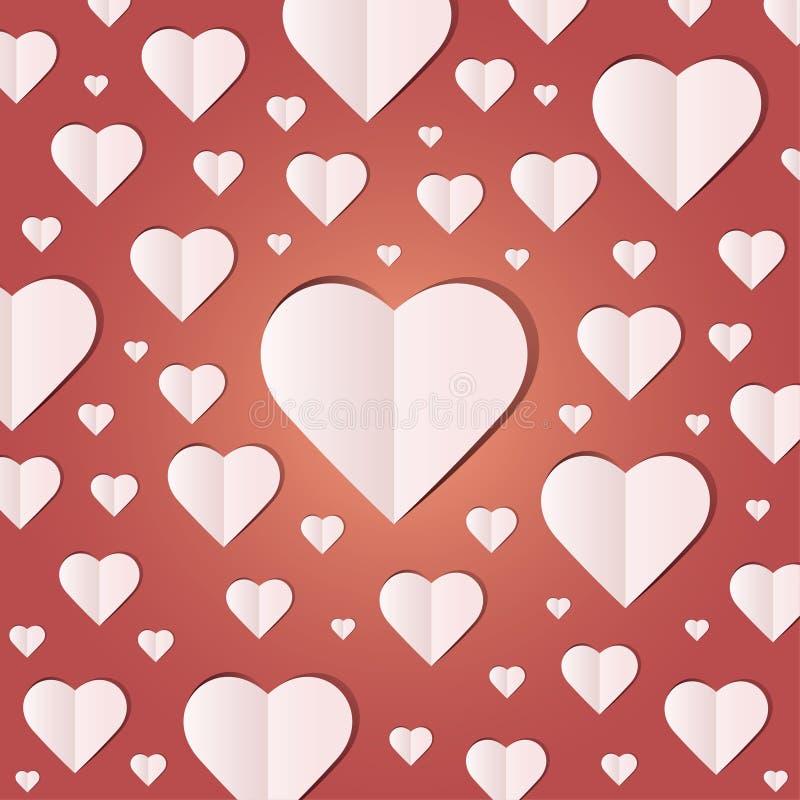 Fondo por el icono de muchos corazones, corazón blanco en el fondo rojo libre illustration