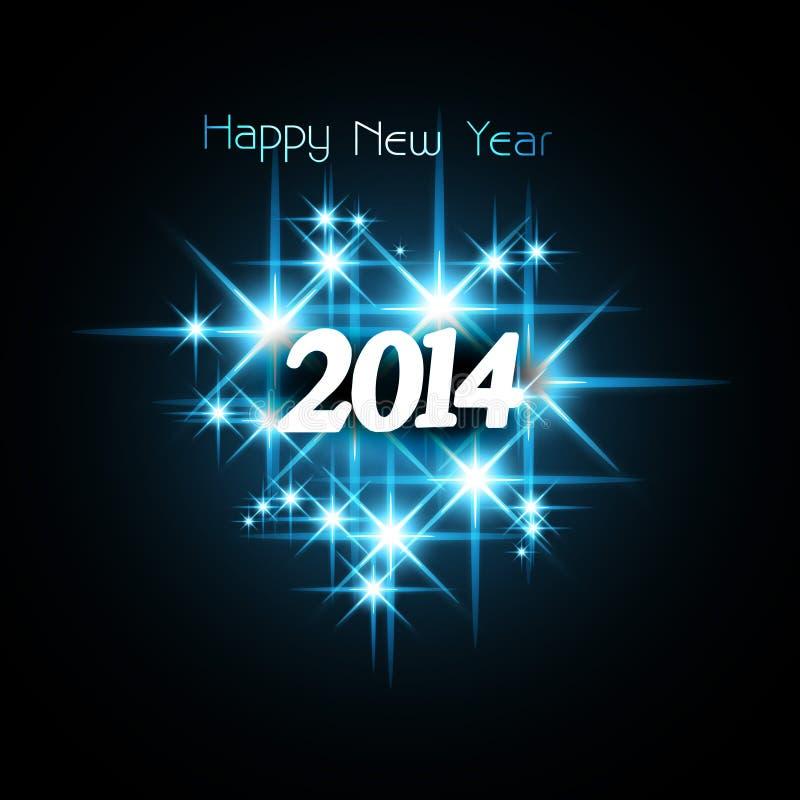 Fondo por la Feliz Año Nuevo 2014 de las estrellas brillantes stock de ilustración