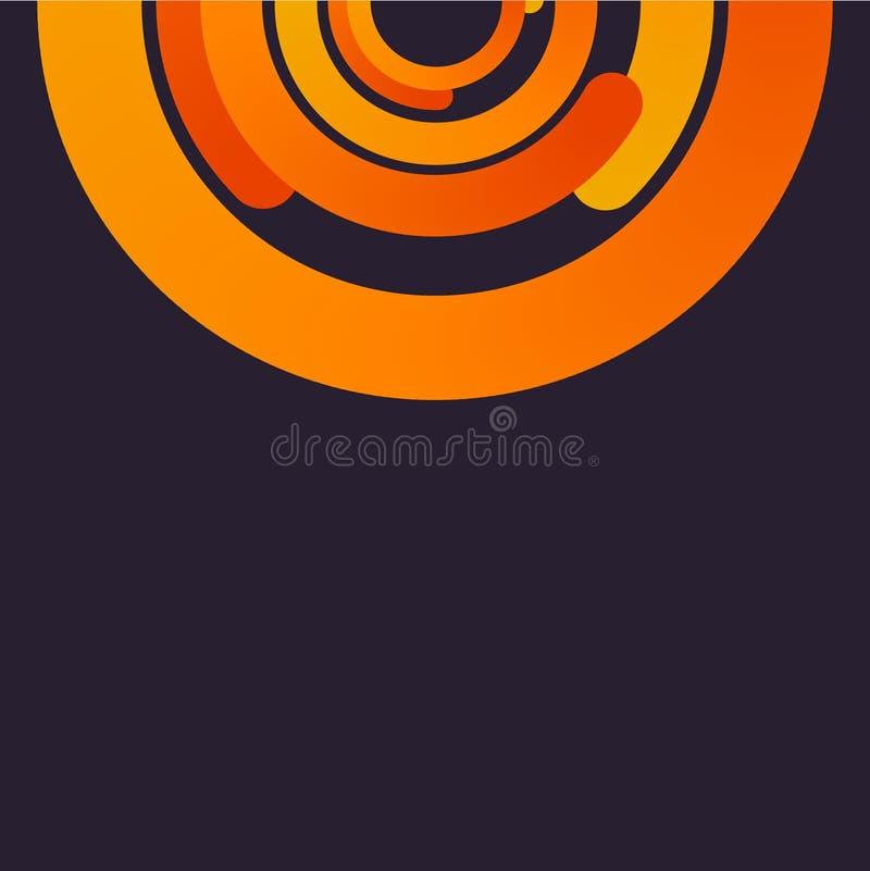 Fondo porpora con il modello arancio dei cerchi royalty illustrazione gratis