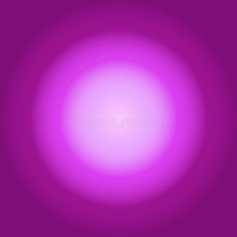 Fondo porpora con la pendenza luminosa circolare Concetto per ipnosi, violetto-chiaro circumcentric per la meditazione trascenden illustrazione di stock