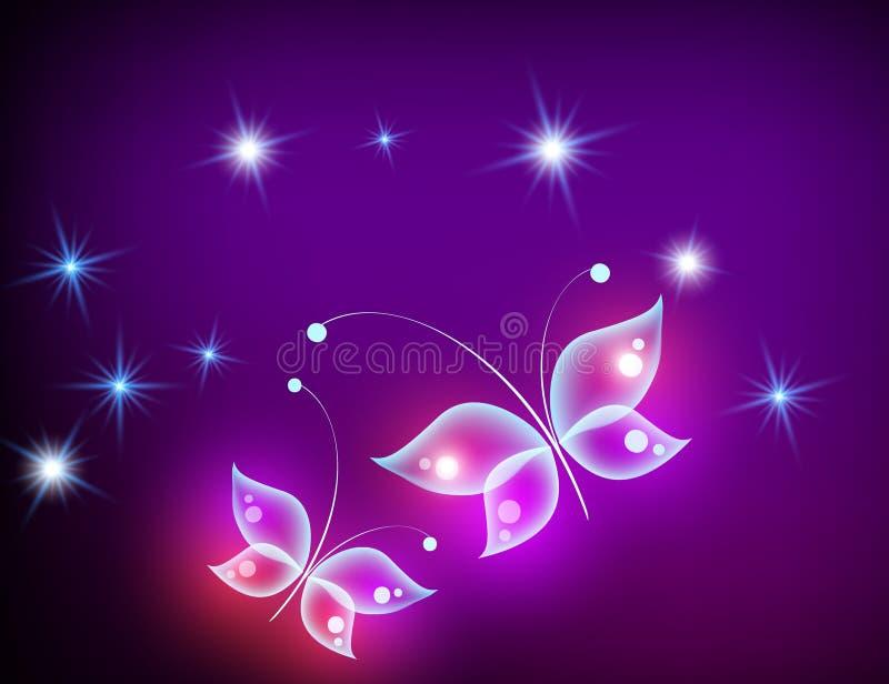 Fondo porpora d'ardore con la farfalla magica Fondo al neon fotografia stock libera da diritti