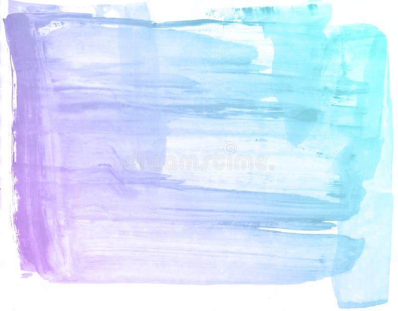 Fondo porpora e blu della pittura dell'acquerello, segnante schizzo con lettere dell'album per ritagli illustrazione di stock