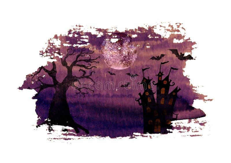 Fondo porpora scuro di notte di Halloween con l'albero, il castello, i pipistrelli e la luna piena morti terribili illustrazione di stock