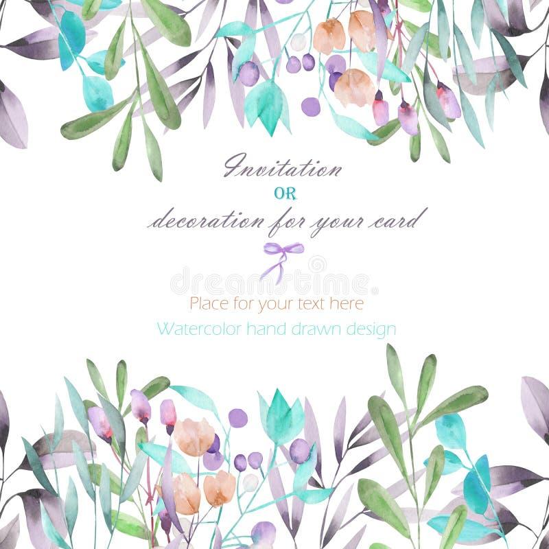 Fondo, postal de la plantilla con las ramas de la acuarela, flores y plantas, mano dibujada en un fondo blanco ilustración del vector