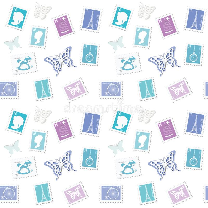 Fondo postal del vintage con diversos sellos retros Modelo decorativo en azul en colores pastel Para casarse o el diseño del libr stock de ilustración