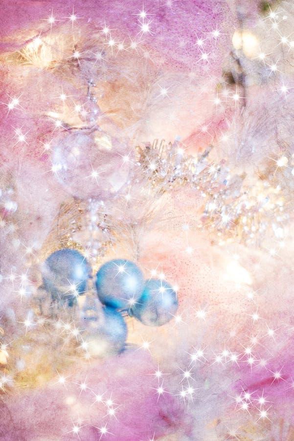Fondo precioso de la Navidad en azules y oros de los rosas fotografía de archivo libre de regalías