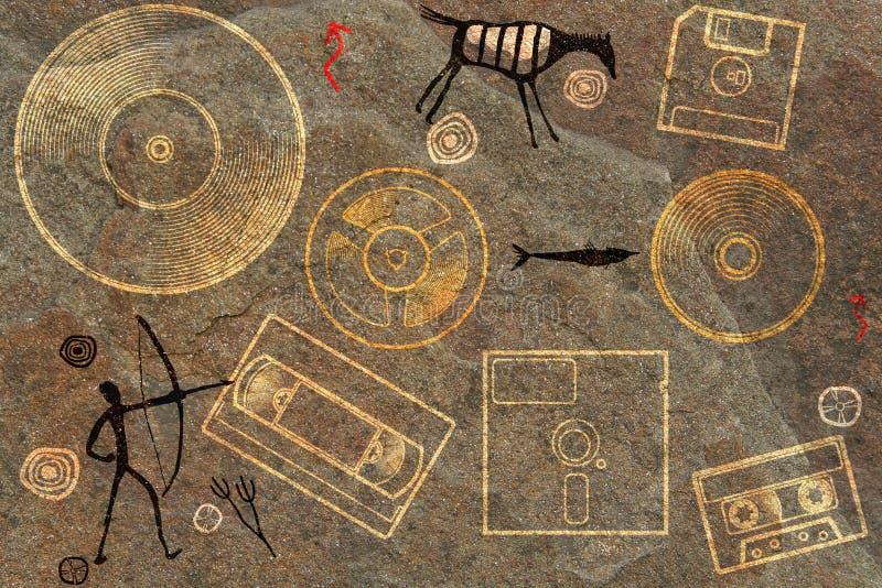 Fondo prehistórico del petroglifo foto de archivo libre de regalías